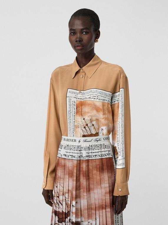 Camisa oversize de seda com estampa de marinheiro (Bronze)