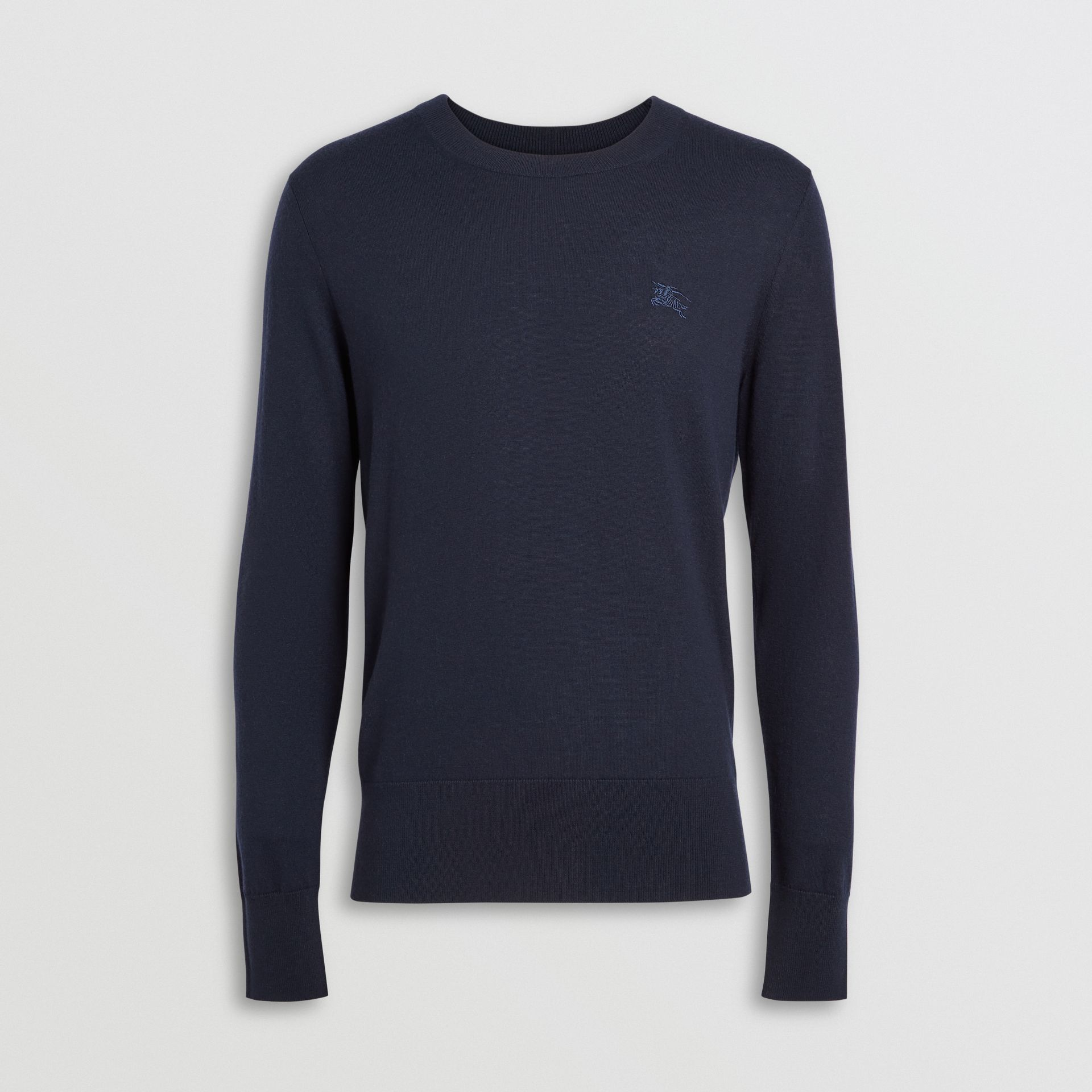 Crew Neck Cashmere Sweater in Navy - Men | Burberry United Kingdom - gallery image 3