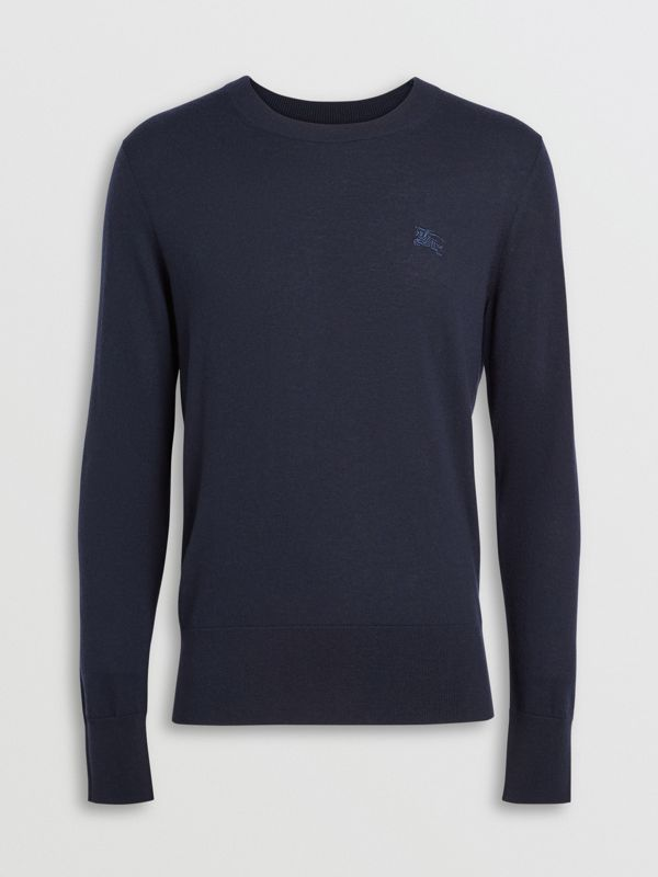 Crew Neck Cashmere Sweater in Navy - Men | Burberry United Kingdom - cell image 3