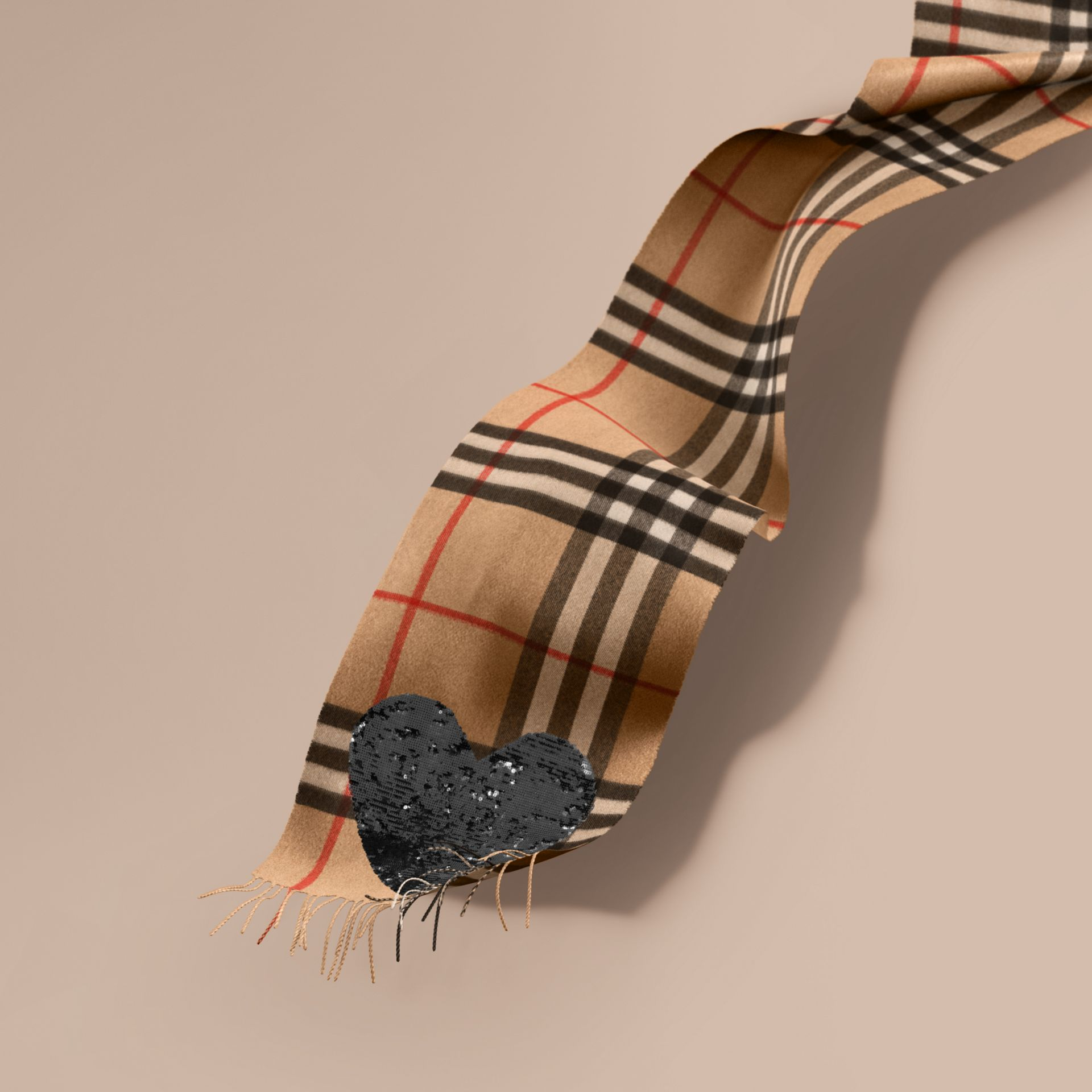 The Classic Cashmere Scarf in Check with Sequined Heart in Camel/black - gallery image 1