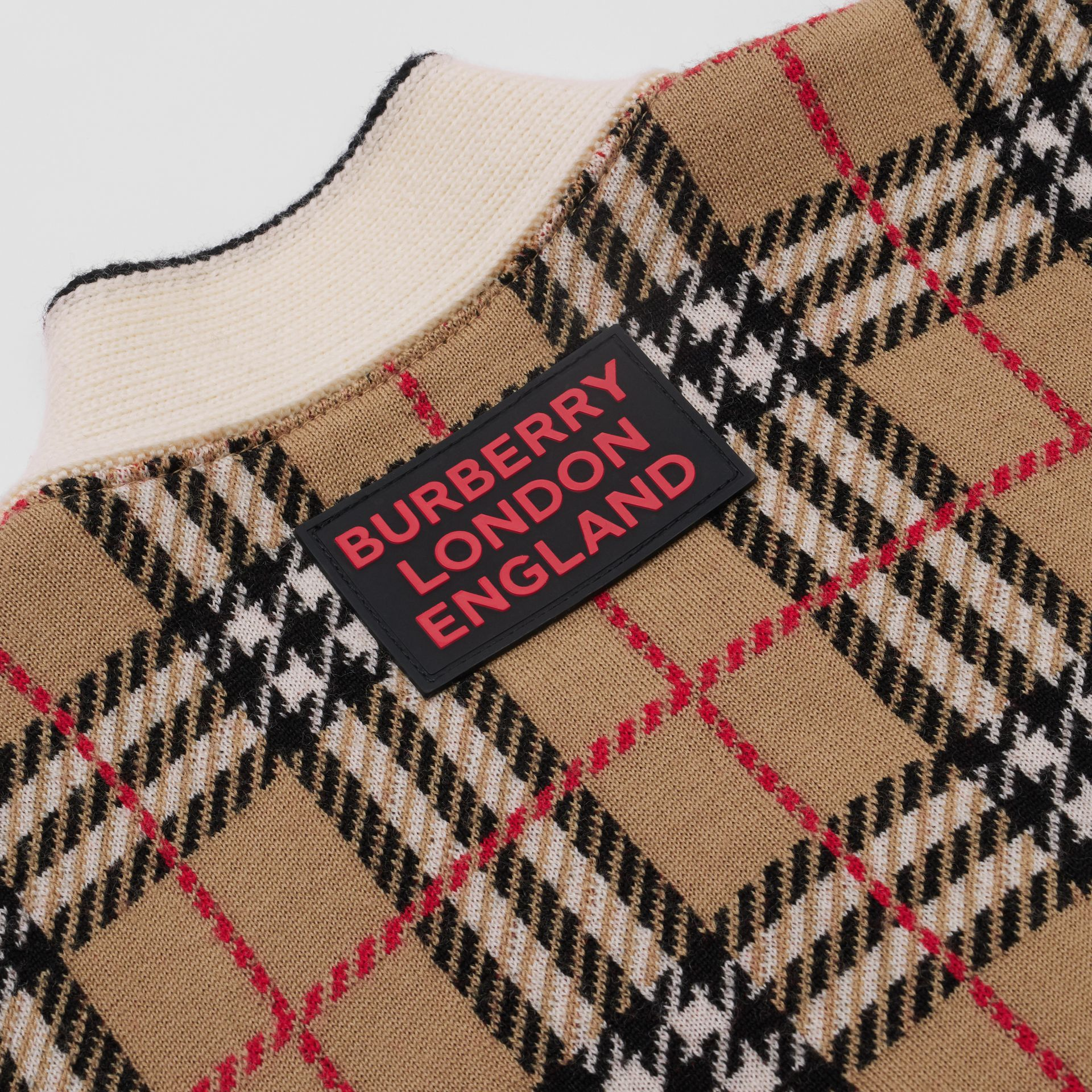 Check and Leopard Merino Wool Jacquard Cardigan in Print | Burberry - gallery image 1