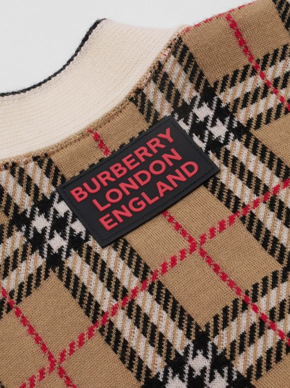Check and Leopard Merino Wool Jacquard Cardigan in Print | Burberry - cell image 1