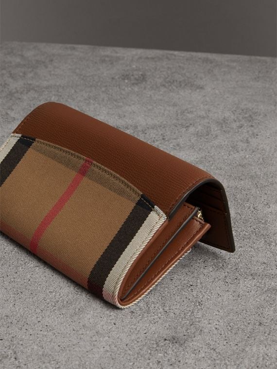 House Check And Leather Continental Wallet in Tan - Women | Burberry Canada - cell image 2