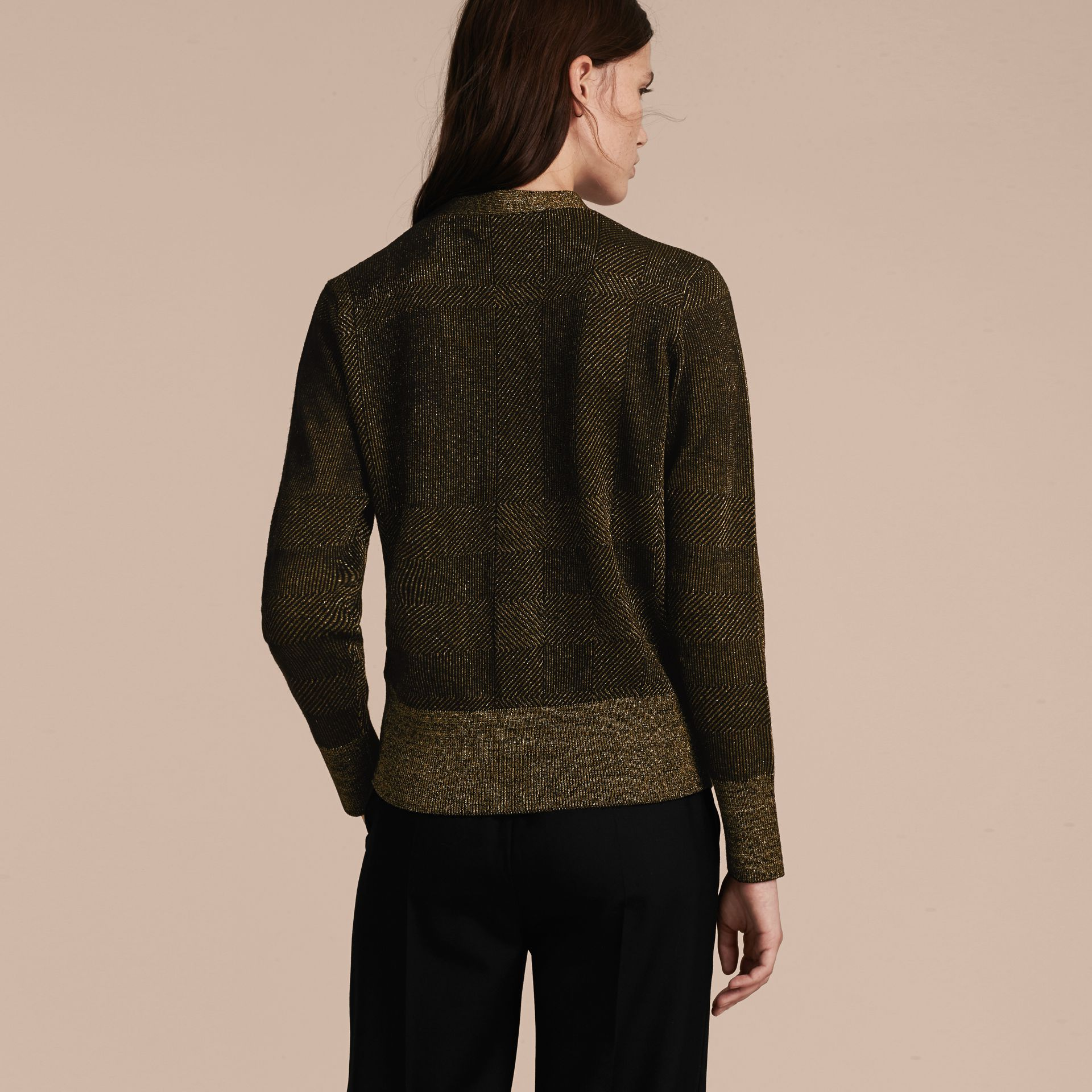 Check Merino Wool and Metallic Cardigan - gallery image 3