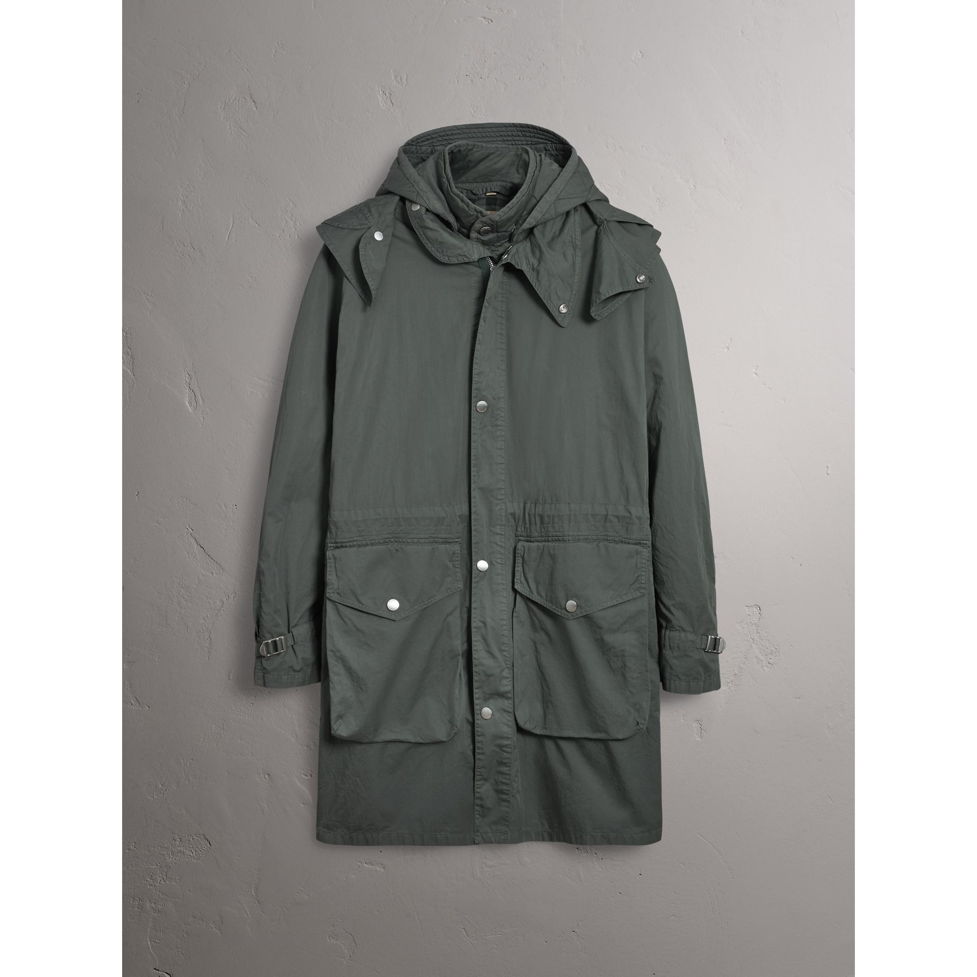 Detachable Hood Cotton Parka with Warmer in Smokey Green - Men | Burberry Hong Kong - gallery image 4