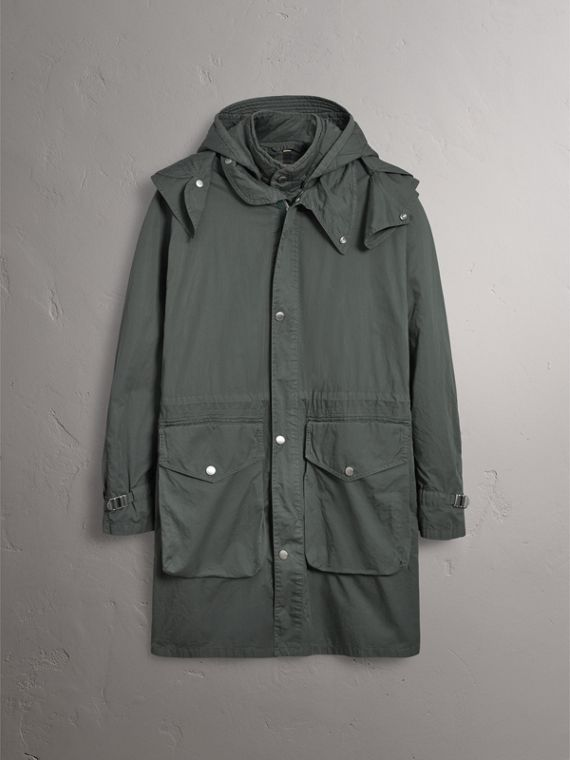 Detachable Hood Cotton Parka with Warmer in Smokey Green - Men | Burberry Canada - cell image 3