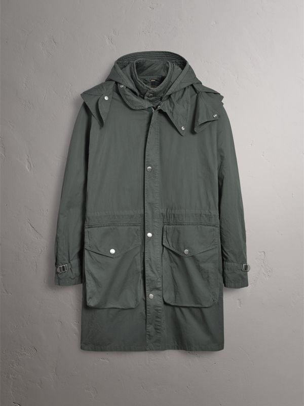 Detachable Hood Cotton Parka with Warmer in Smokey Green - Men | Burberry - cell image 3