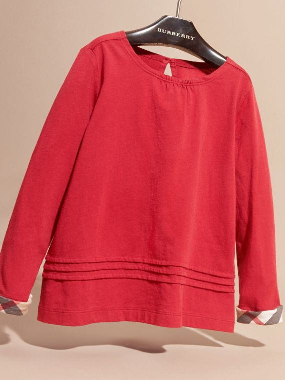 Parade red Long-sleeved Pleat Detail Check Cotton T-Shirt Parade Red - cell image 2
