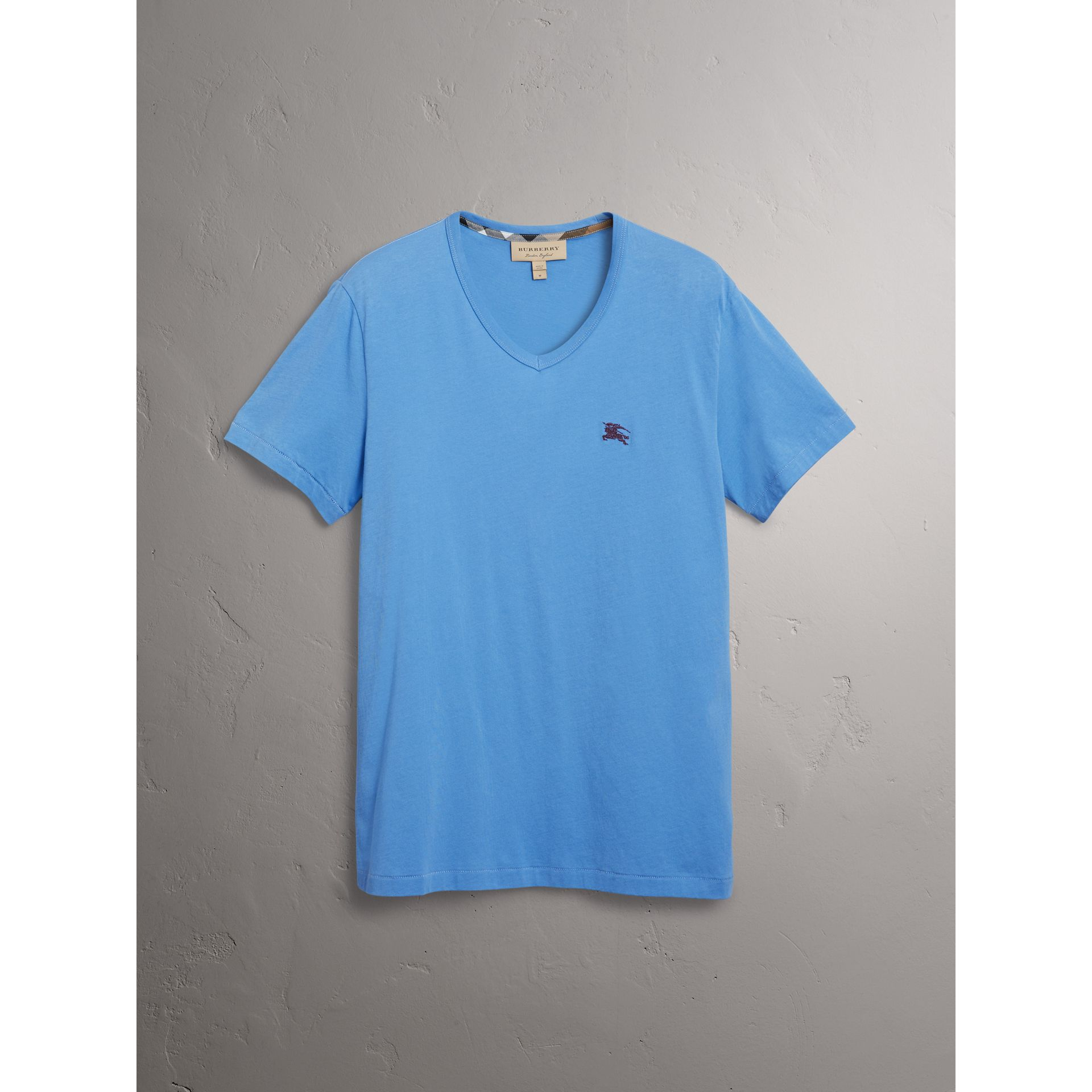 Cotton Jersey T-shirt in Light Azure - Men | Burberry United States - gallery image 3