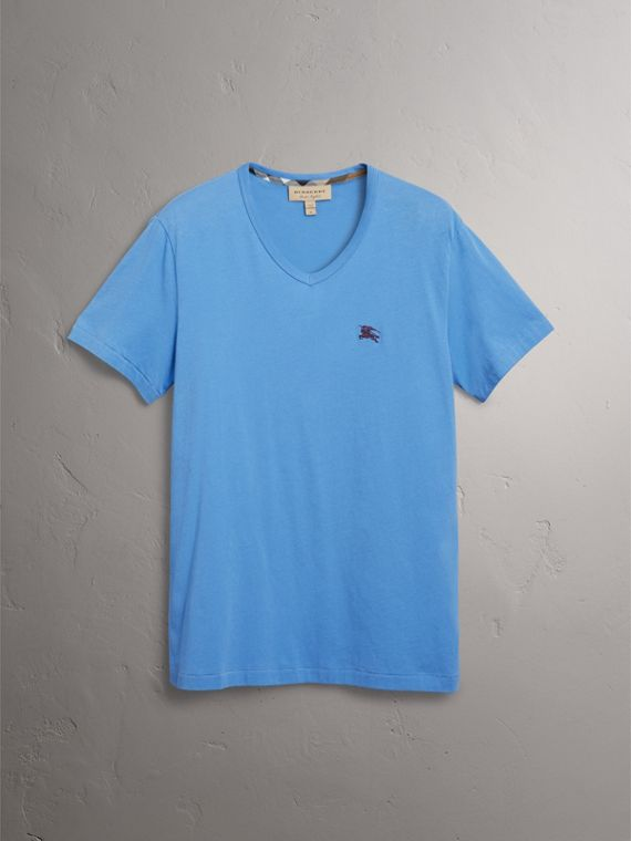 Cotton Jersey T-shirt in Light Azure - Men | Burberry United States - cell image 3