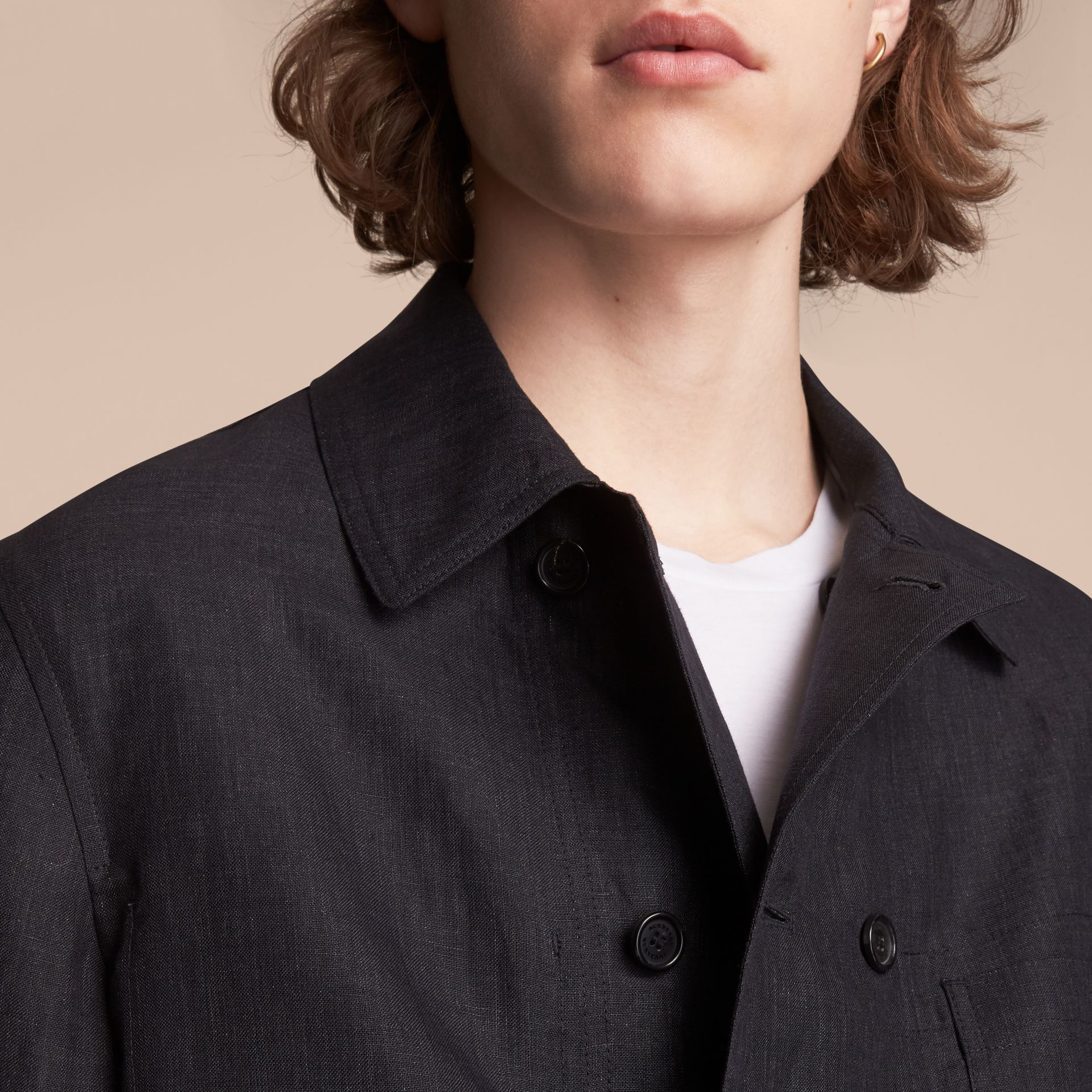 Linen Double-breasted Artist Jacket - Men | Burberry - gallery image 5