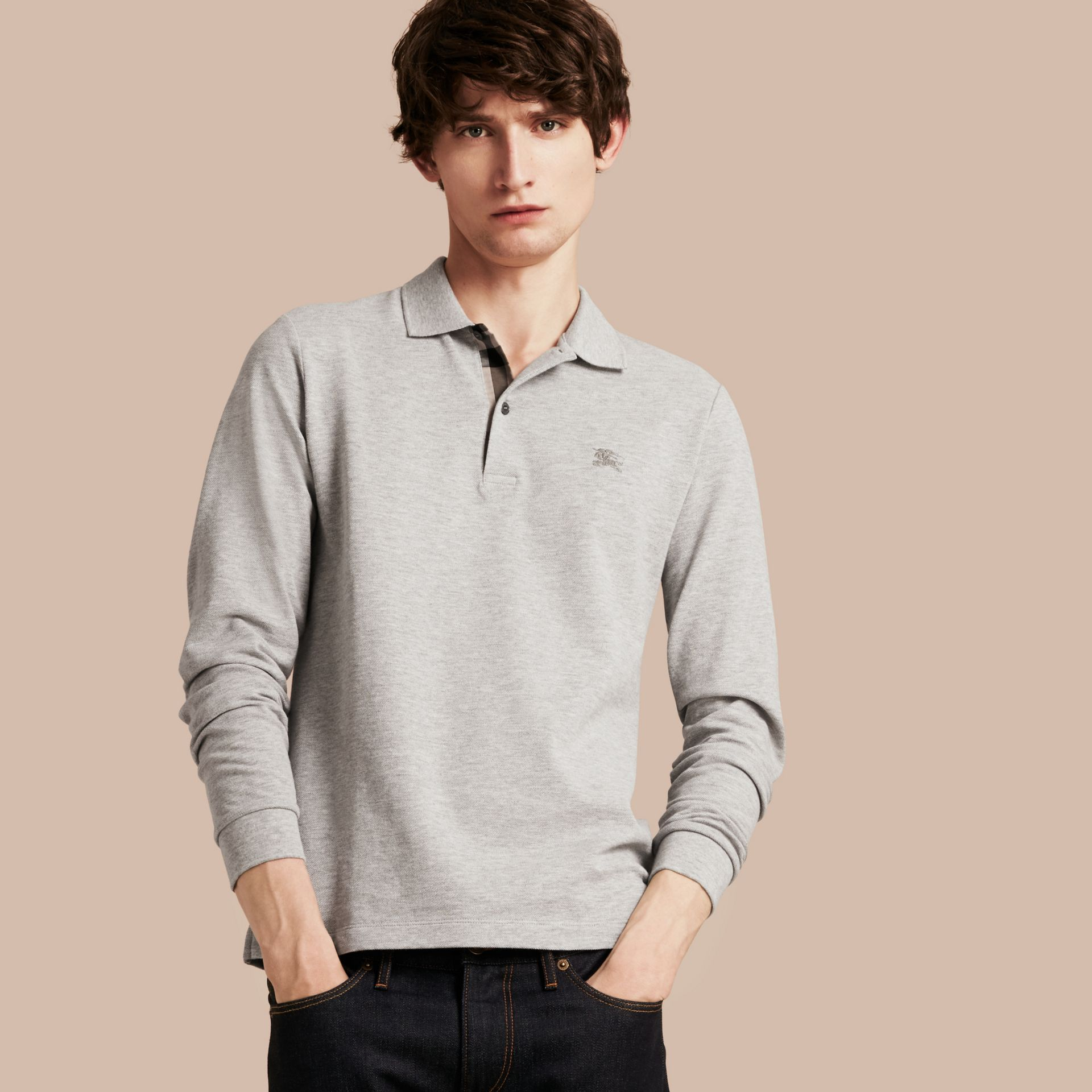 Check Placket Long Sleeve Polo Shirt in Pale Grey Melange - gallery image 6