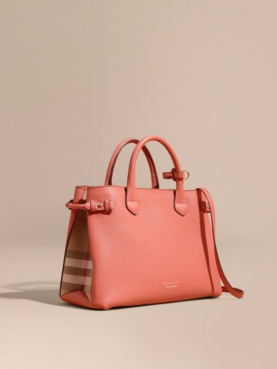 Sac The Banner medium en cuir et coton House check (Cannelle Rouge)
