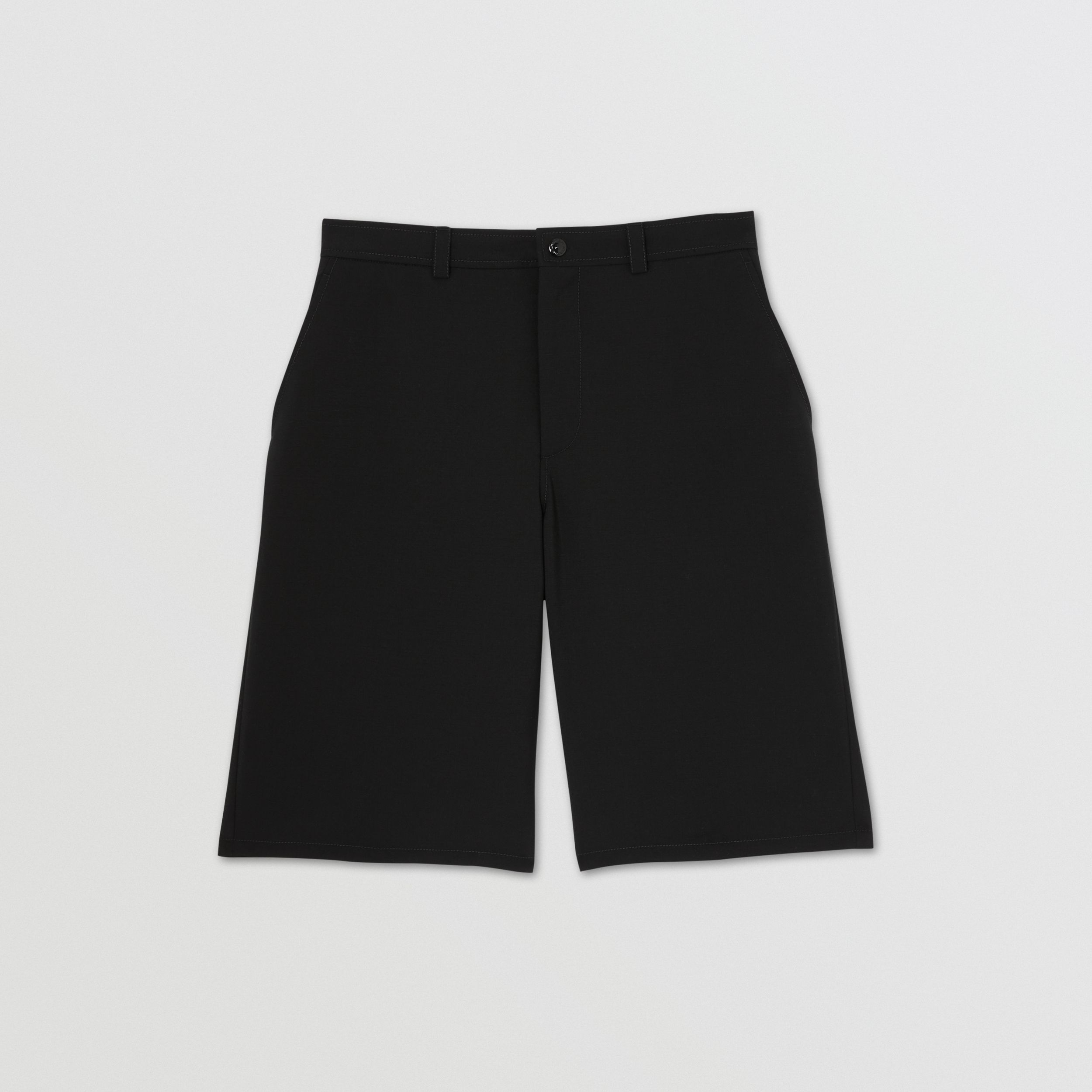 Cut-out Back Mohair Wool Tailored Shorts in Black - Men | Burberry Singapore - 4