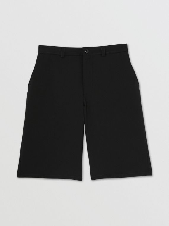 Cut-out Back Mohair Wool Tailored Shorts in Black
