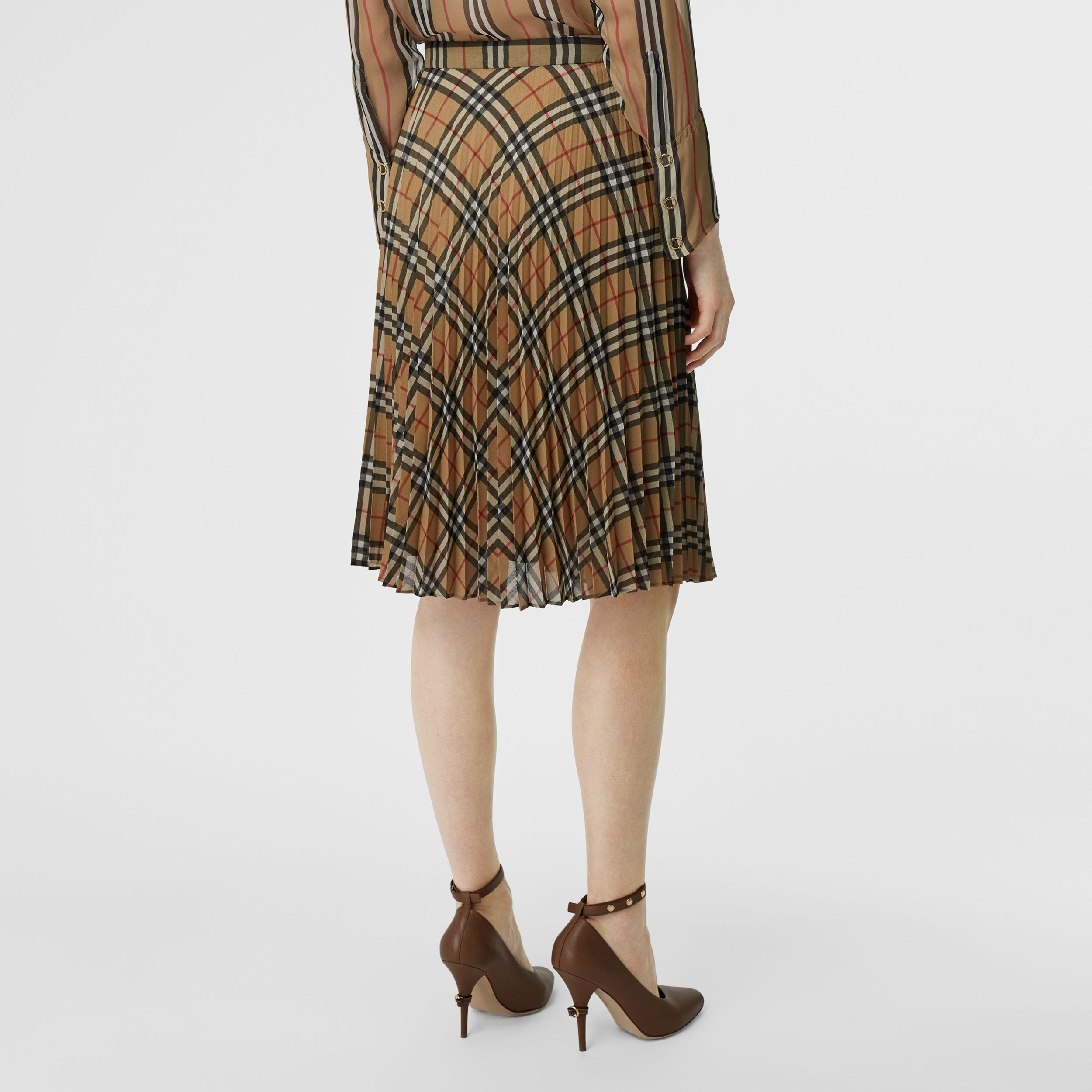 Vintage Check Chiffon Pleated Skirt in Archive Beige - Women | Burberry - 3