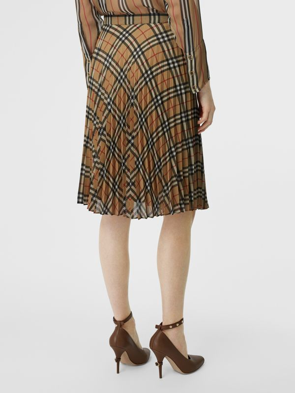Gonna a pieghe in chiffon con motivo Vintage check (Beige Archivio) - Donna | Burberry - cell image 2
