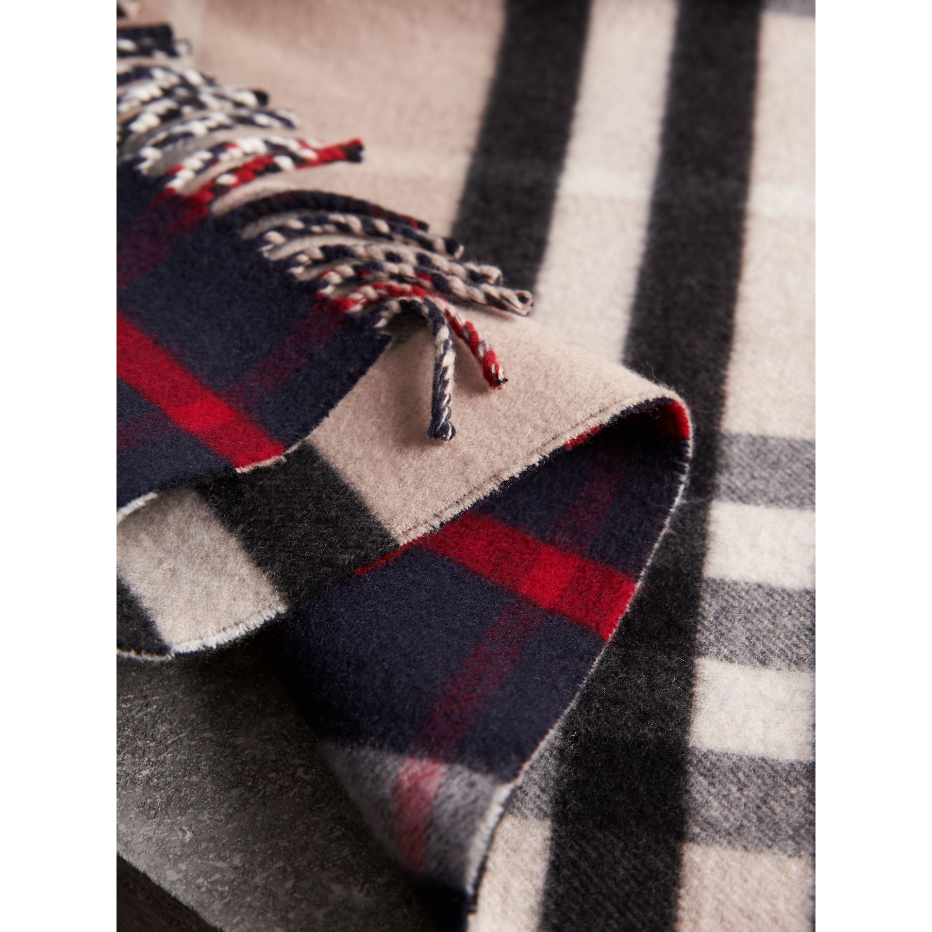 Check Wool Cashmere Oversize Scarf in Navy | Burberry United Kingdom - gallery image 2
