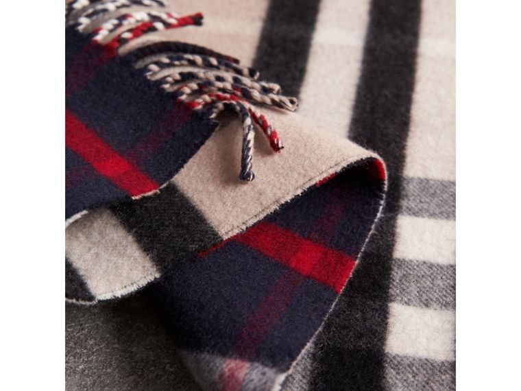 Check Wool Cashmere Oversize Scarf in Navy | Burberry - cell image 1