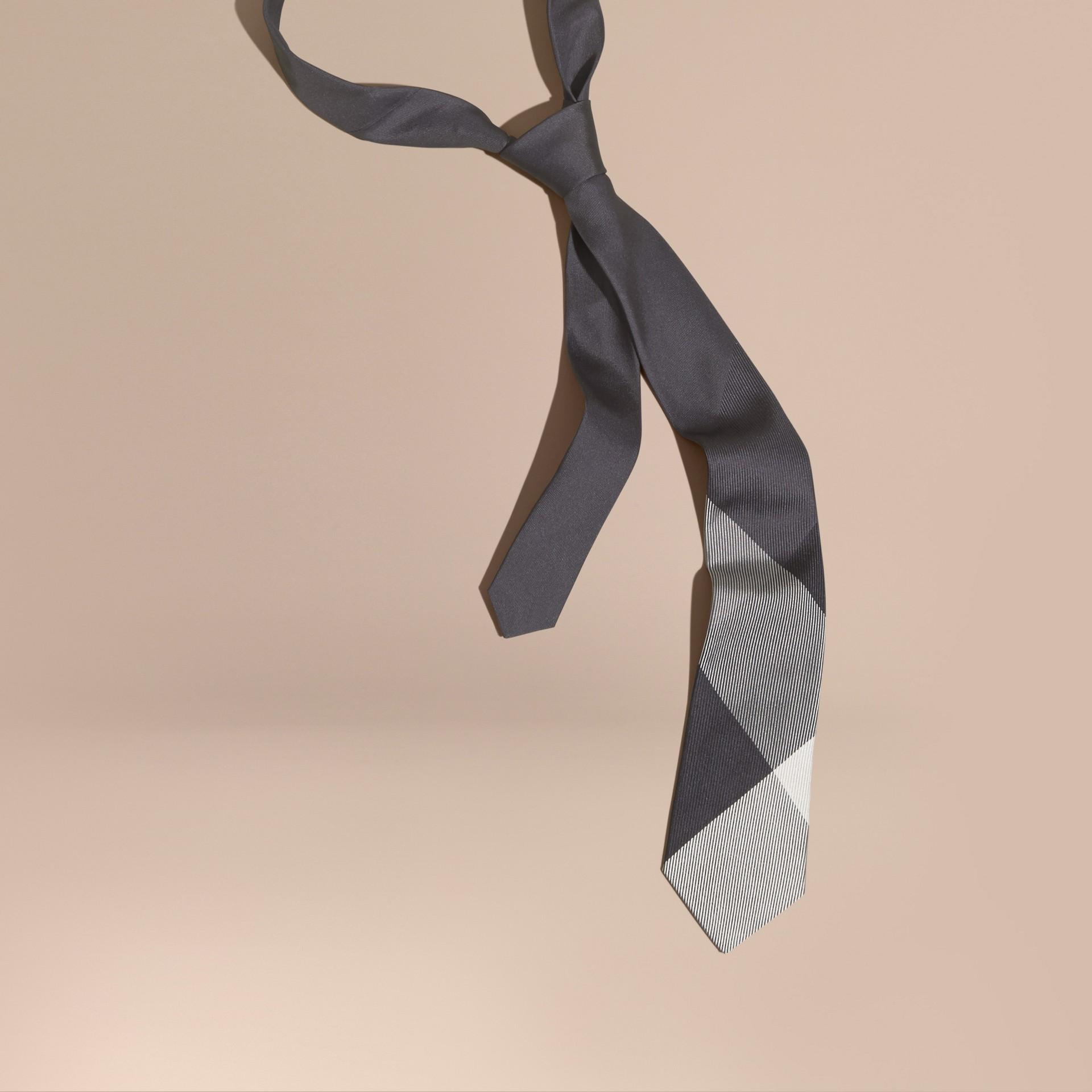 Mid grey Modern Cut Check Jacquard Silk Tie Mid Grey - gallery image 1