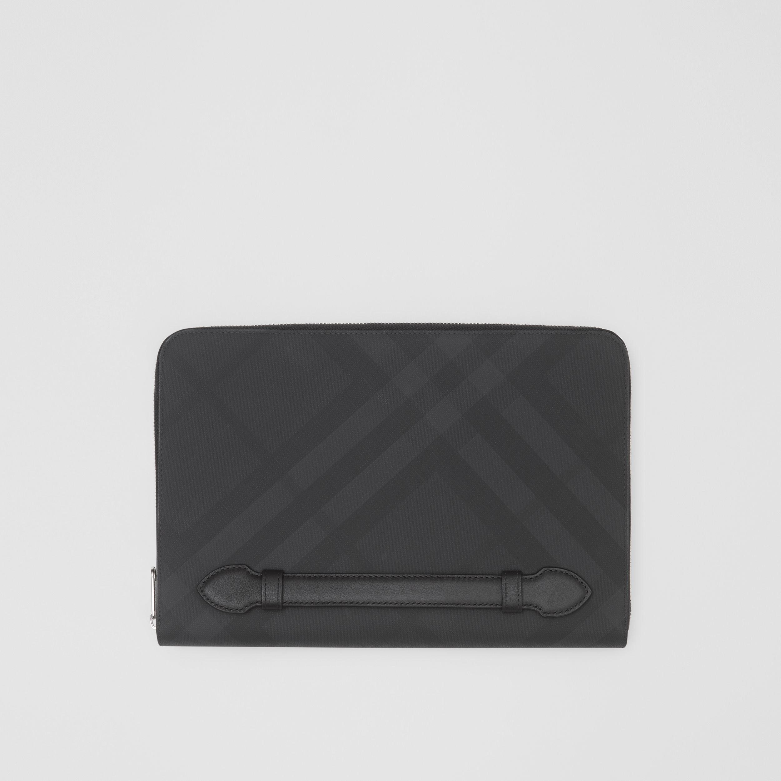 London Check and Leather Ziparound Pouch in Dark Charcoal - Men | Burberry - 1