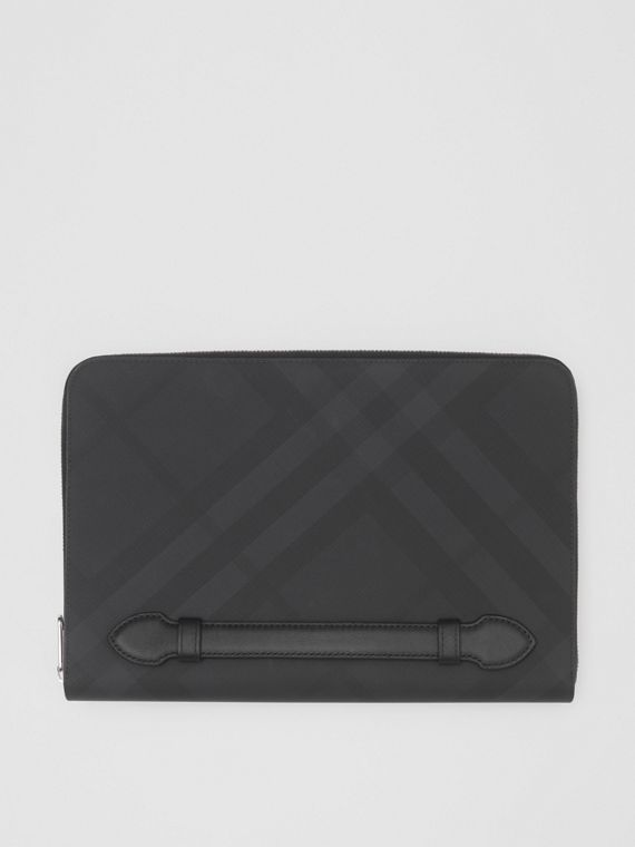 London Check and Leather Ziparound Pouch in Dark Charcoal