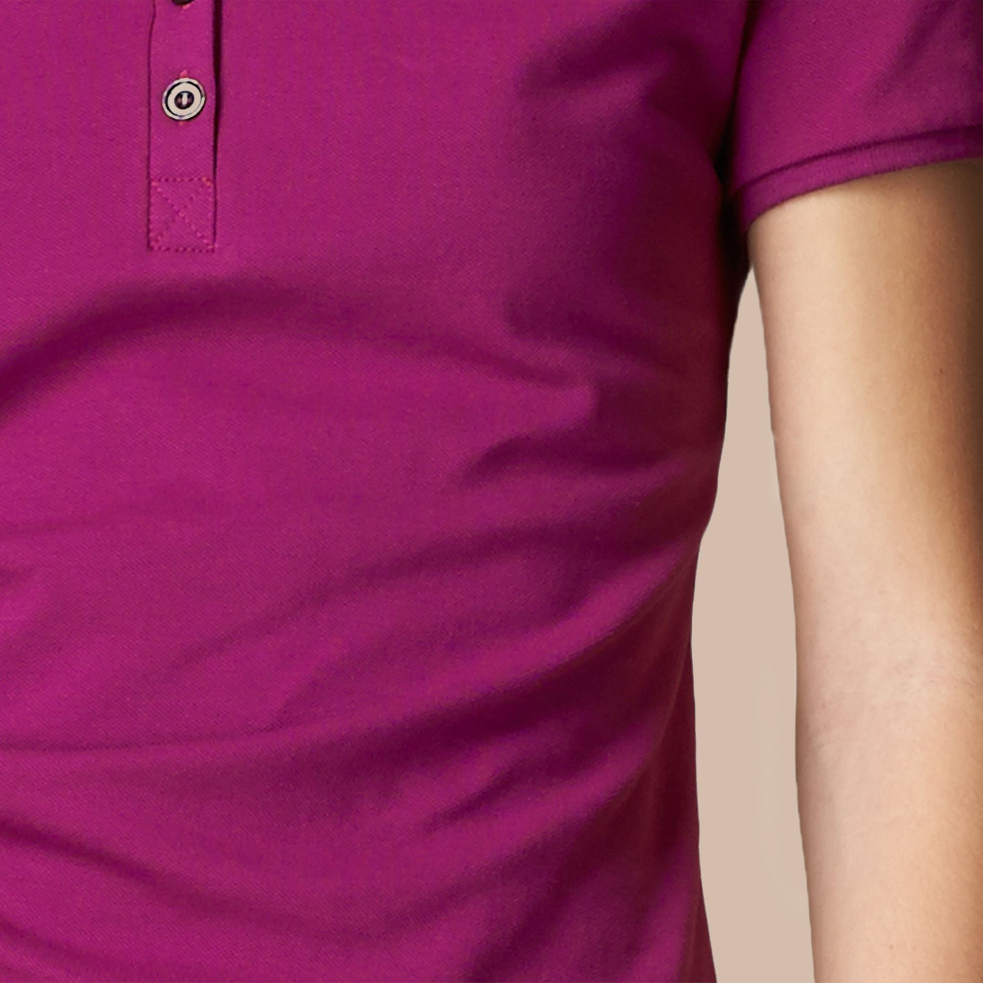Cotton Piqué Polo Shirt in Magenta Pink - gallery image 2