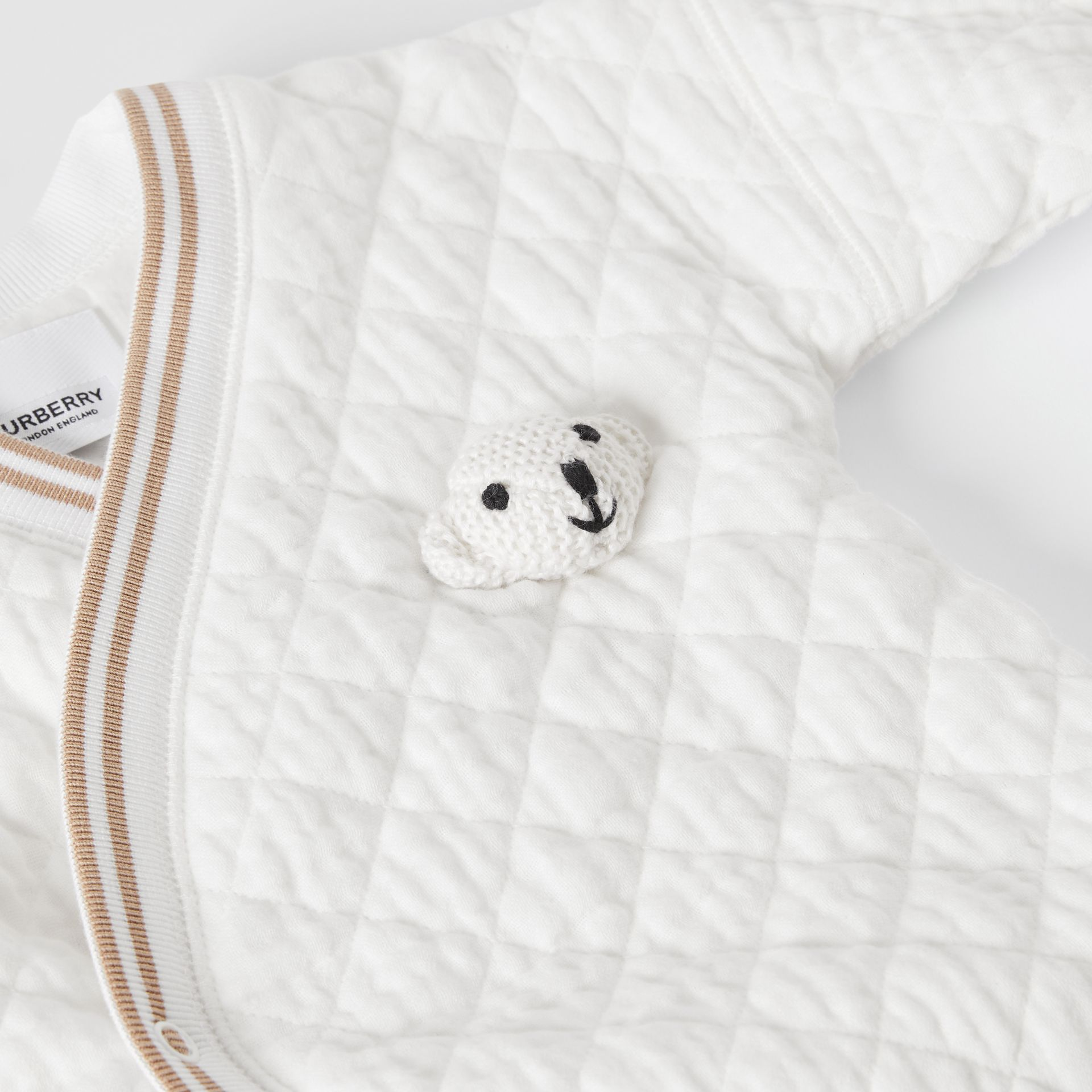 Thomas Bear Detail Quilted Cotton All-in-One in White - Children | Burberry - gallery image 1