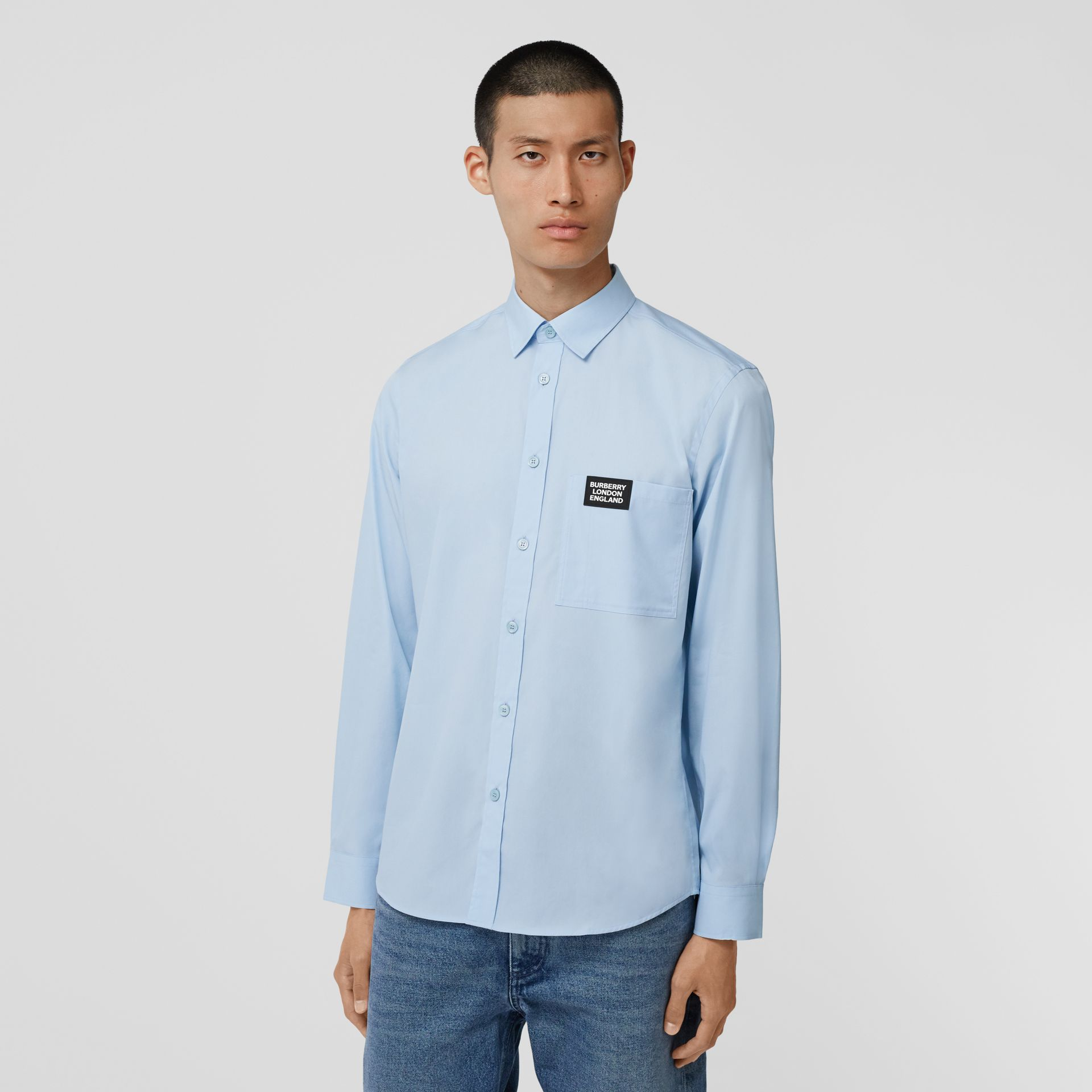 Logo Detail Stretch Cotton Poplin Shirt in Pale Blue - Men | Burberry Hong Kong S.A.R - gallery image 4