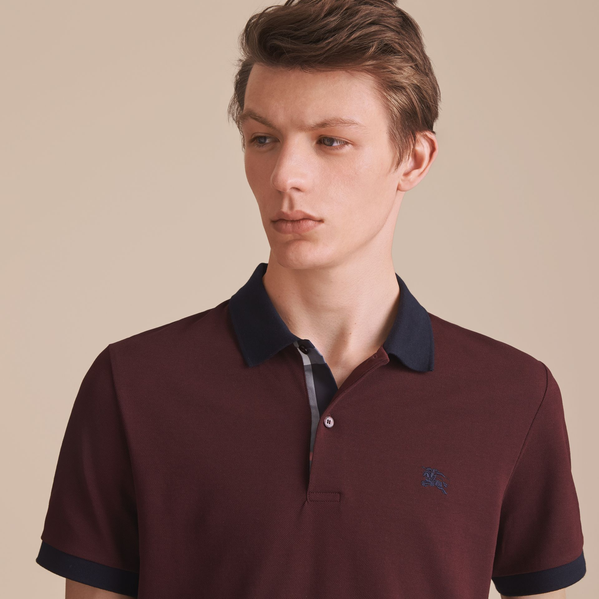 Two-tone Check Placket Cotton Piqué Polo Shirt in Deep Claret - gallery image 5