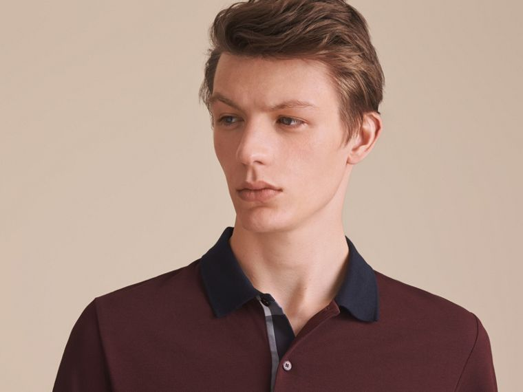 Two-tone Check Placket Cotton Piqué Polo Shirt in Deep Claret - Men | Burberry Australia - cell image 4