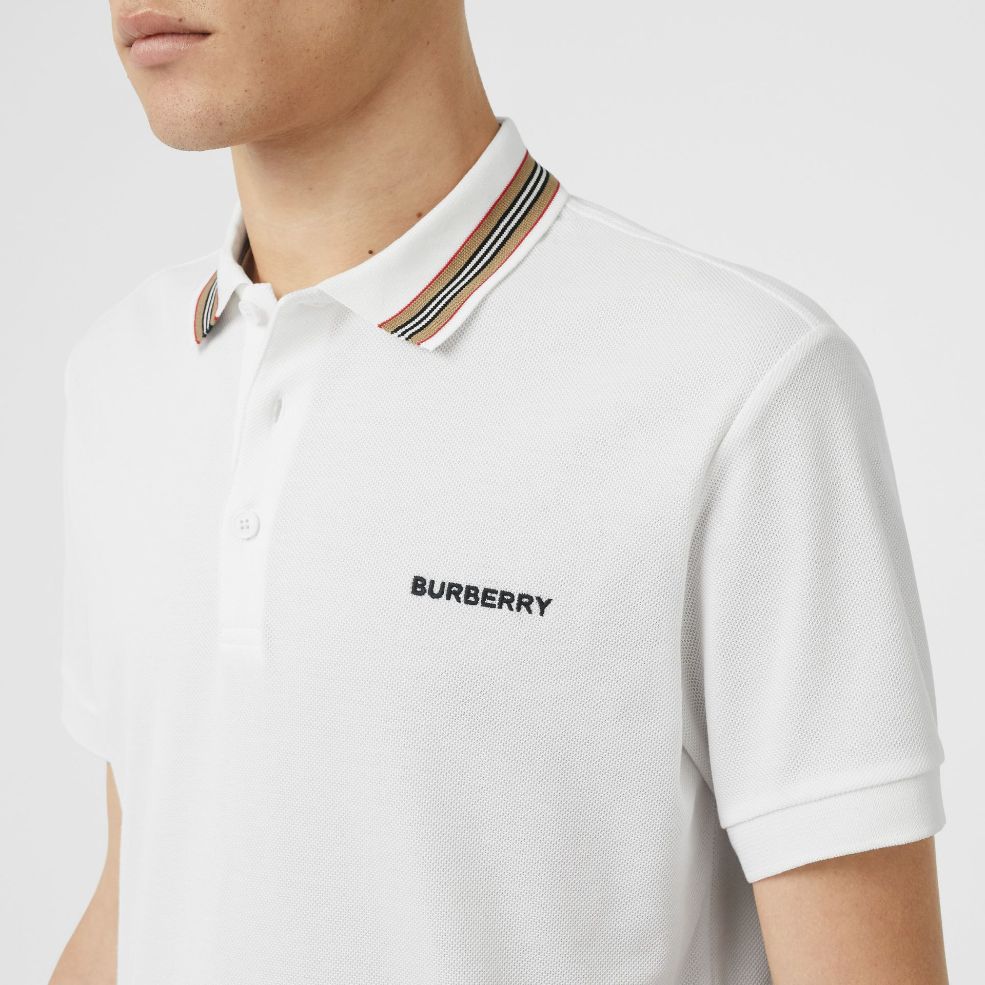 Icon Stripe Detail Cotton Piqué Polo Shirt in White - Men | Burberry - gallery image 1