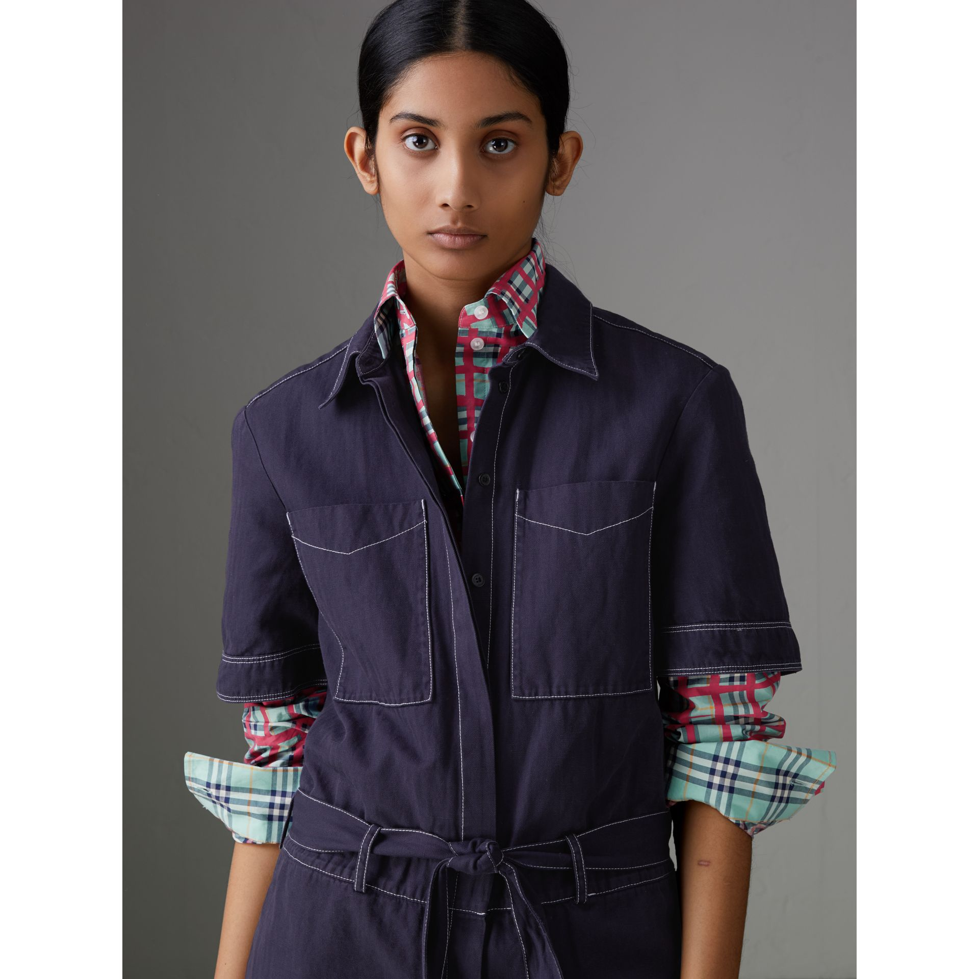 Cotton Linen Workwear Jumpsuit in Deep Indigo - Women | Burberry United States - gallery image 1