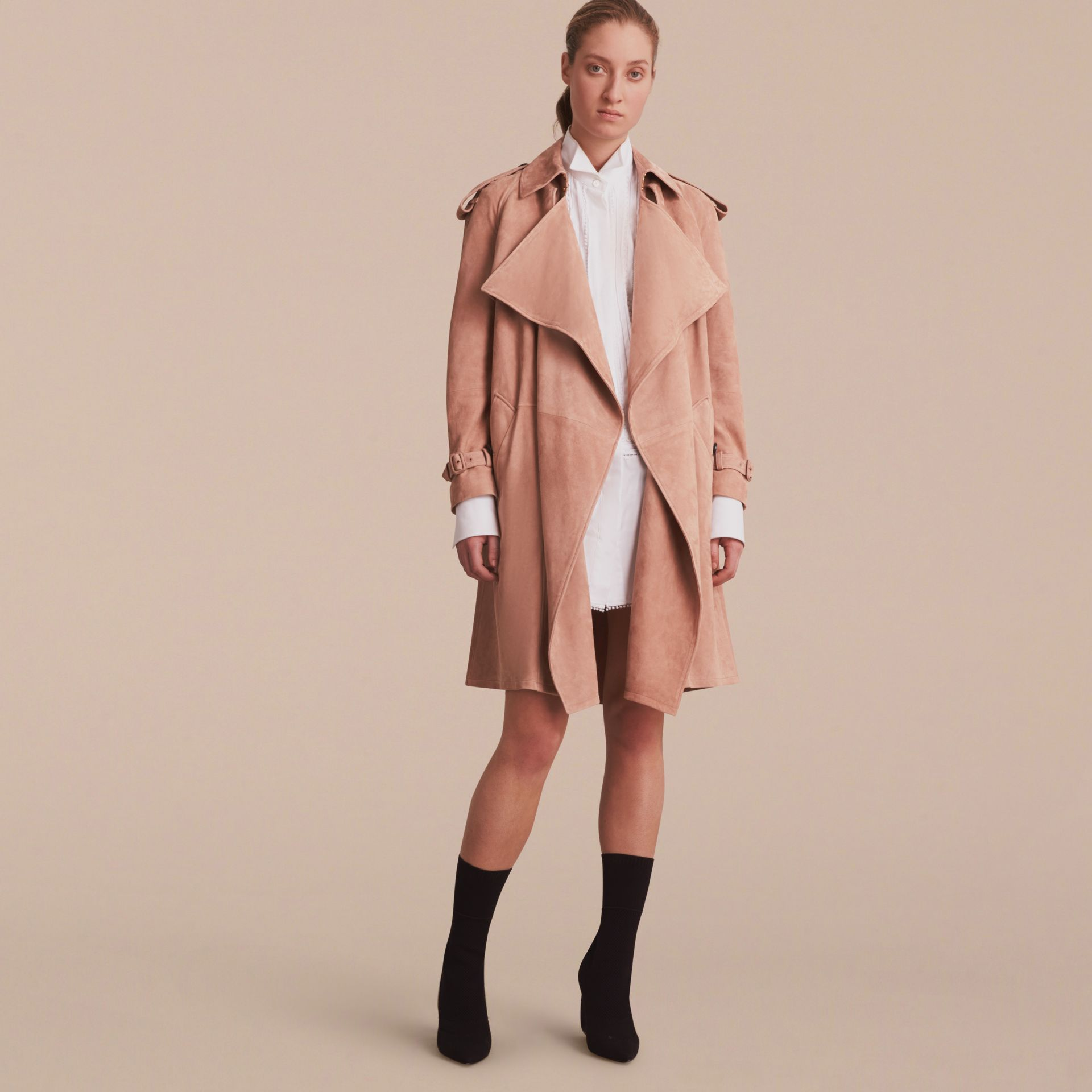 Suede Wrap Trench Coat - Women | Burberry - gallery image 8