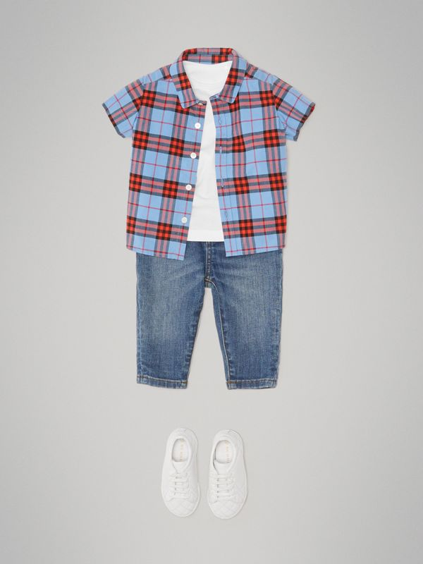 Short-sleeve Check Cotton Shirt in Cornflower Blue - Children | Burberry - cell image 2