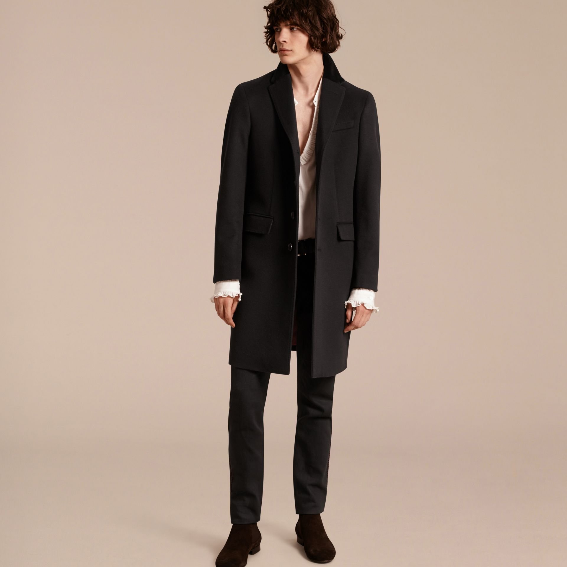 Black Rabbit Topcollar Wool Cashmere Coat - gallery image 6