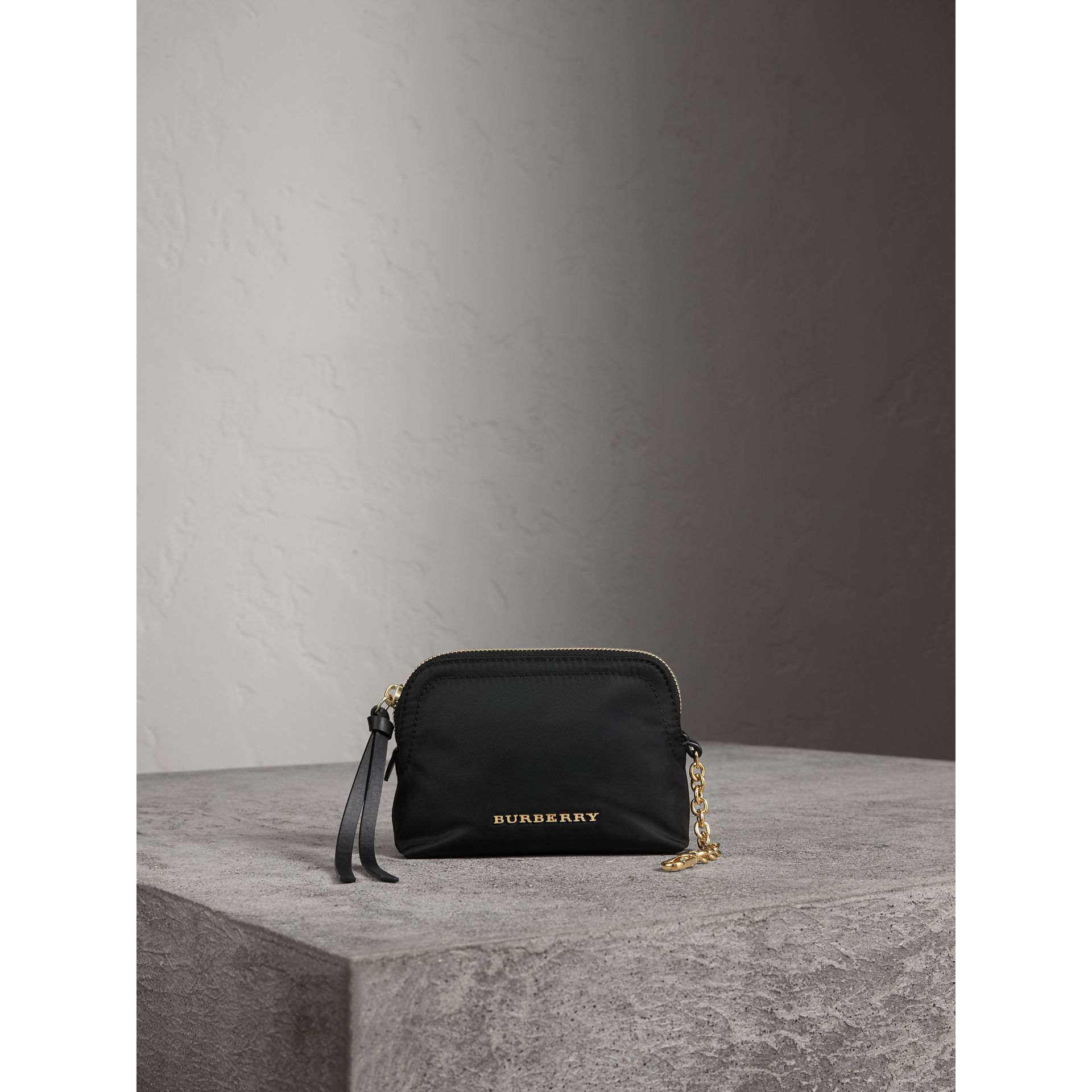 Small Zip-top Technical Nylon Pouch in Black - Women | Burberry - gallery image 1