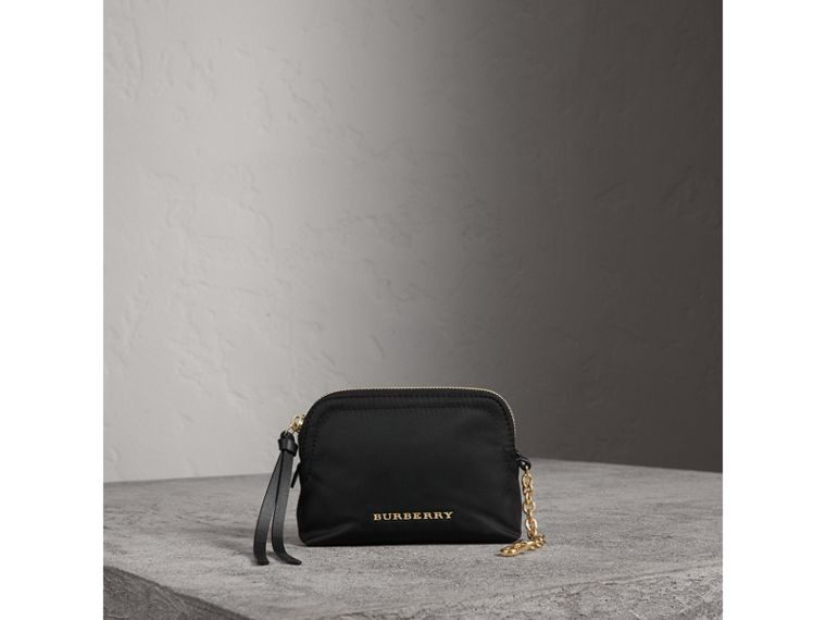 Small Zip-top Technical Nylon Pouch in Black - Women | Burberry Singapore - cell image 1