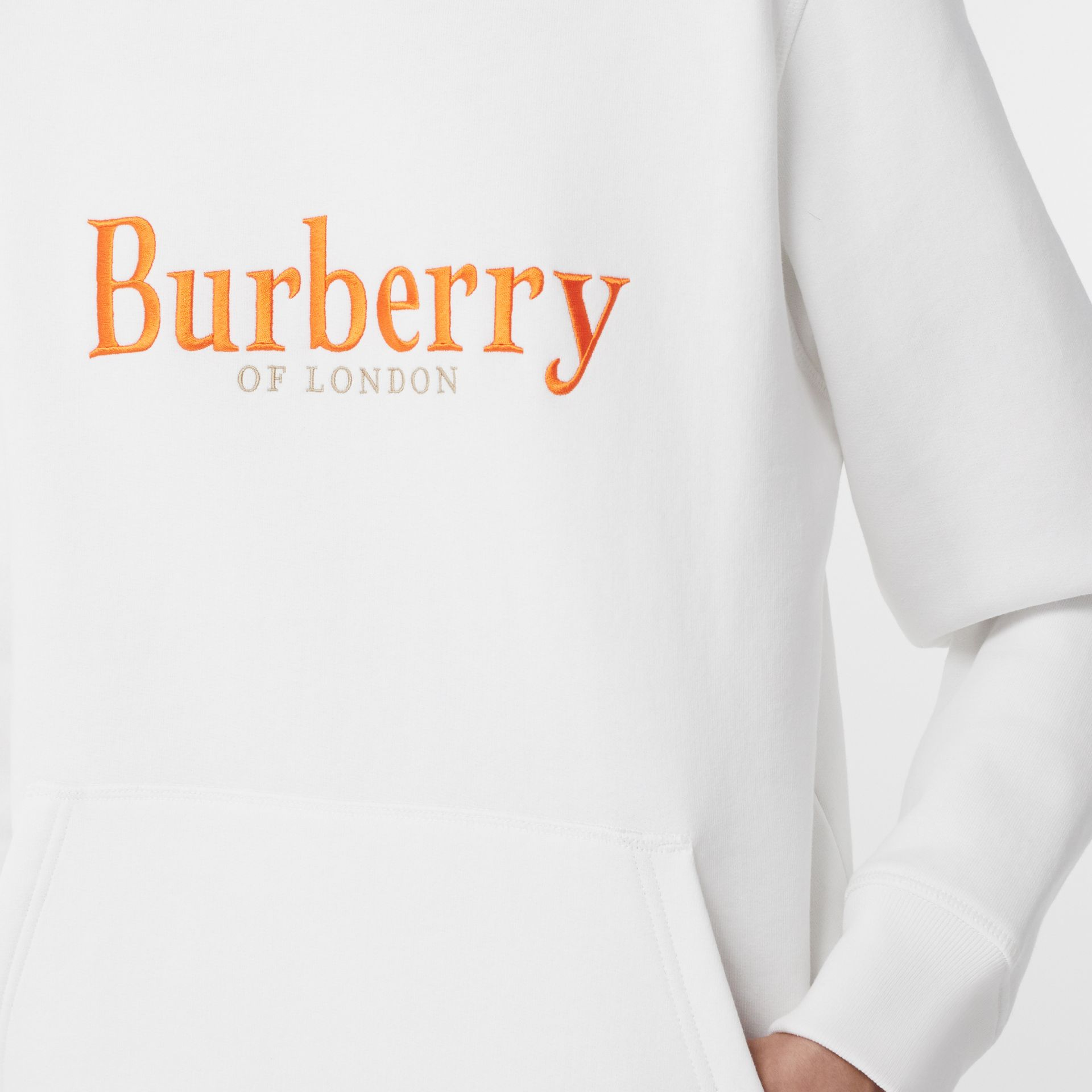 Embroidered Archive Logo Jersey Hoodie in White - Women | Burberry United Kingdom - gallery image 4
