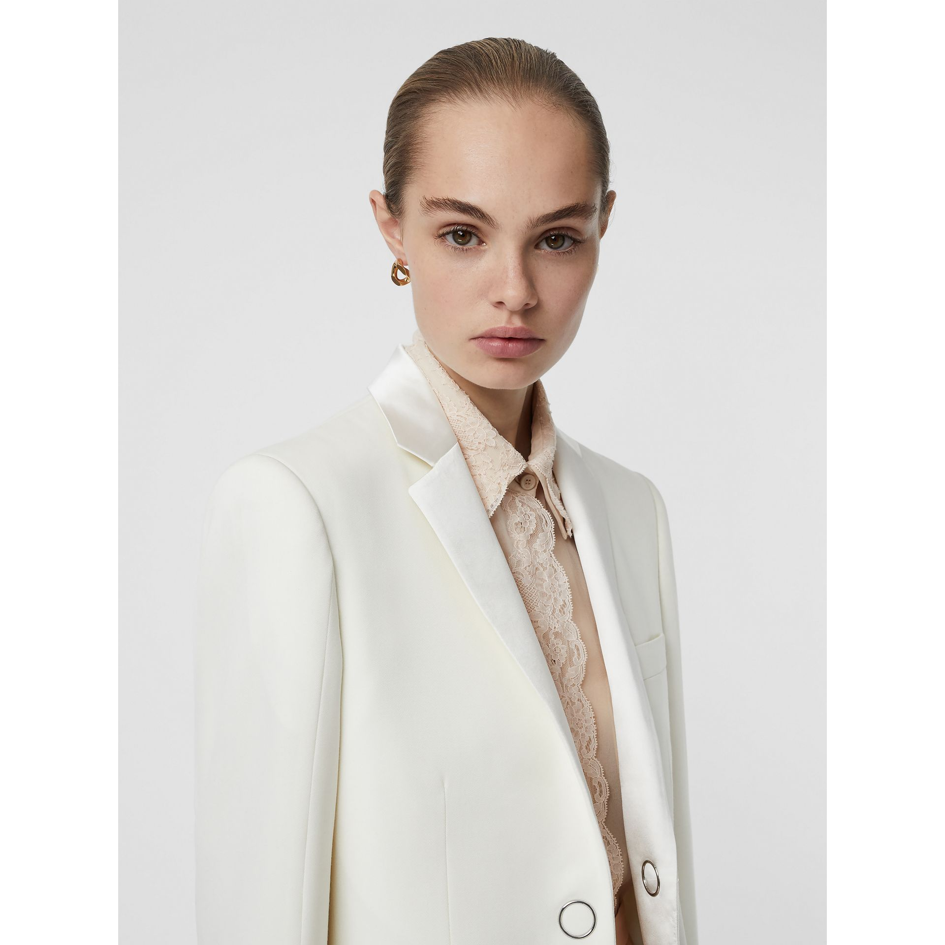 Silk Trim Press-stud Wool Tailored Jacket in Natural White - Women | Burberry United Kingdom - gallery image 2