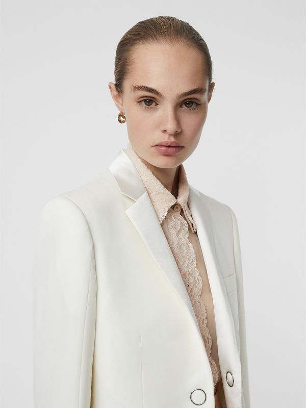 Silk Trim Press-stud Wool Tailored Jacket in Natural White - Women | Burberry United Kingdom - cell image 2