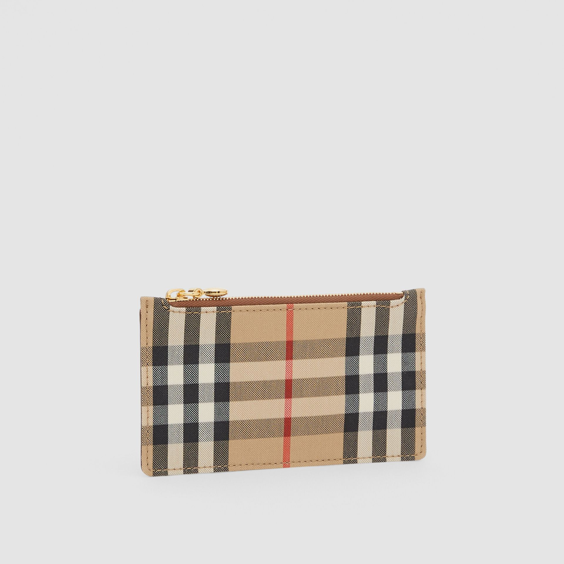 Vintage Check and Leather Zip Card Case in Tan - Women | Burberry Hong Kong S.A.R - gallery image 3