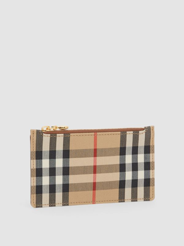Vintage Check and Leather Zip Card Case in Tan - Women | Burberry Hong Kong S.A.R - cell image 3