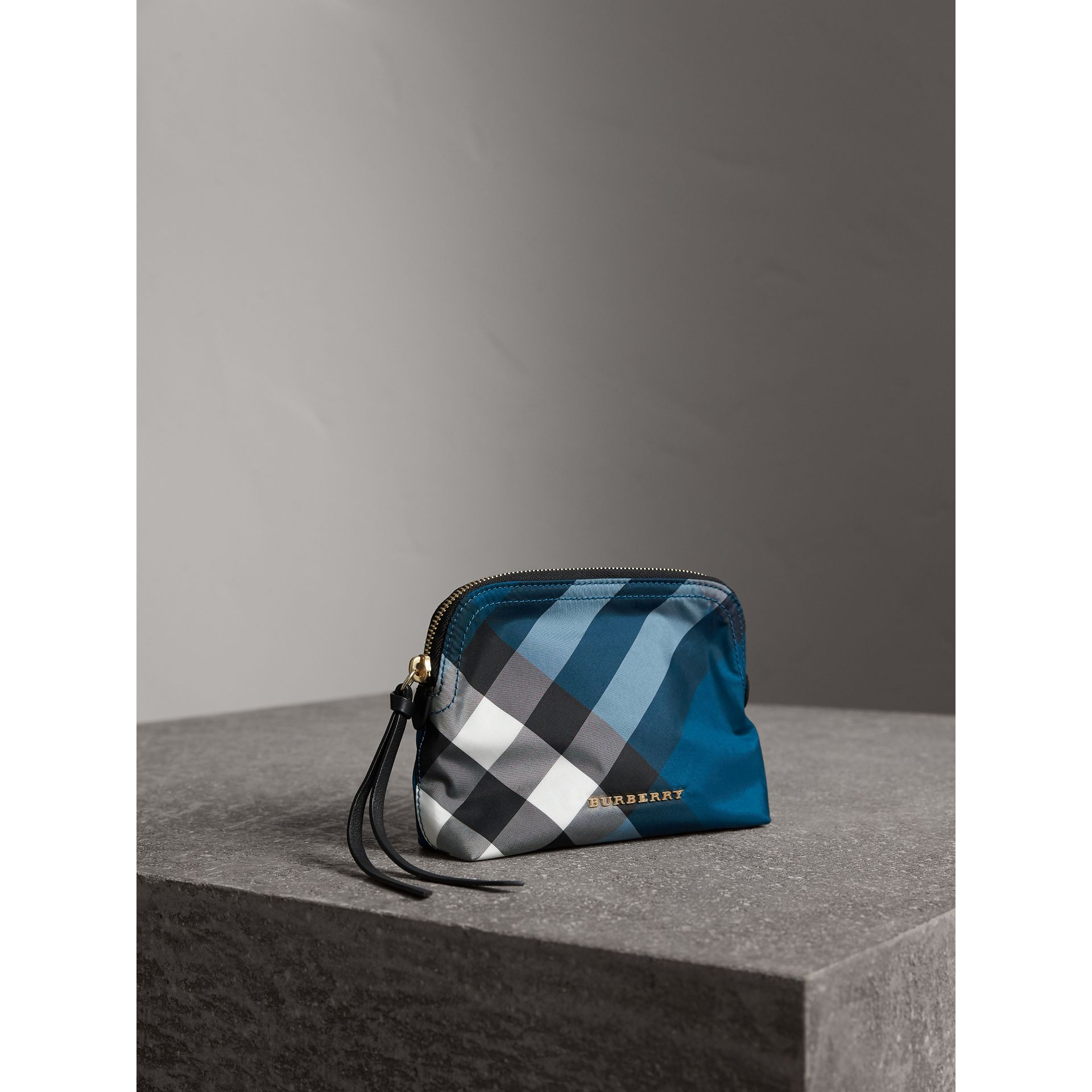Medium Zip-top Check Technical Pouch in Marine Blue - Women | Burberry - gallery image 6