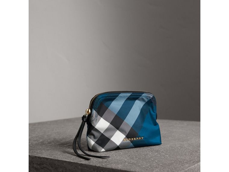 Medium Zip-top Check Technical Pouch in Marine Blue - Women | Burberry - cell image 4