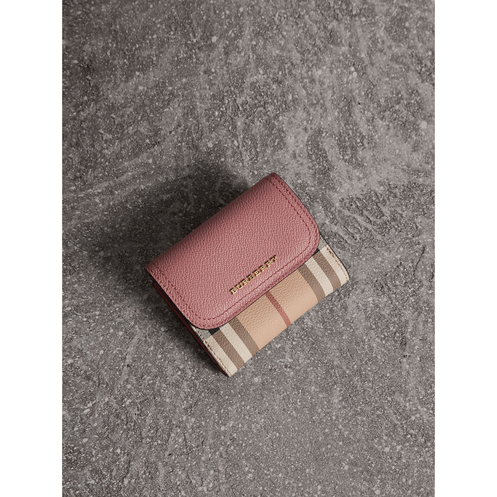 Haymarket Check and Leather Wallet in Dusty Pink/multicolour - Women | Burberry - gallery image 0