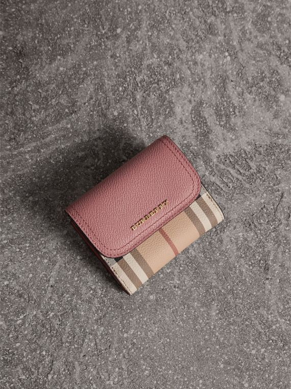Haymarket Check and Leather Wallet in Dusty Pink/multicolour