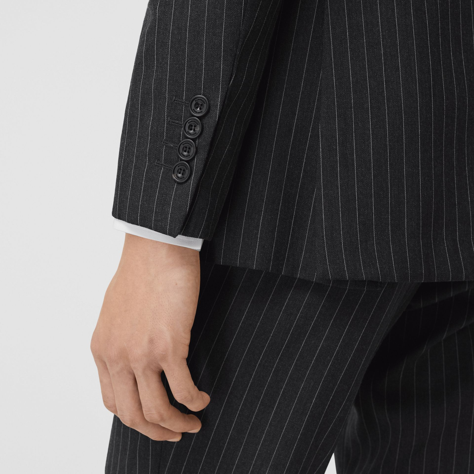 English Fit Pinstriped Wool Double-breasted Suit in Charcoal - Men | Burberry - gallery image 4