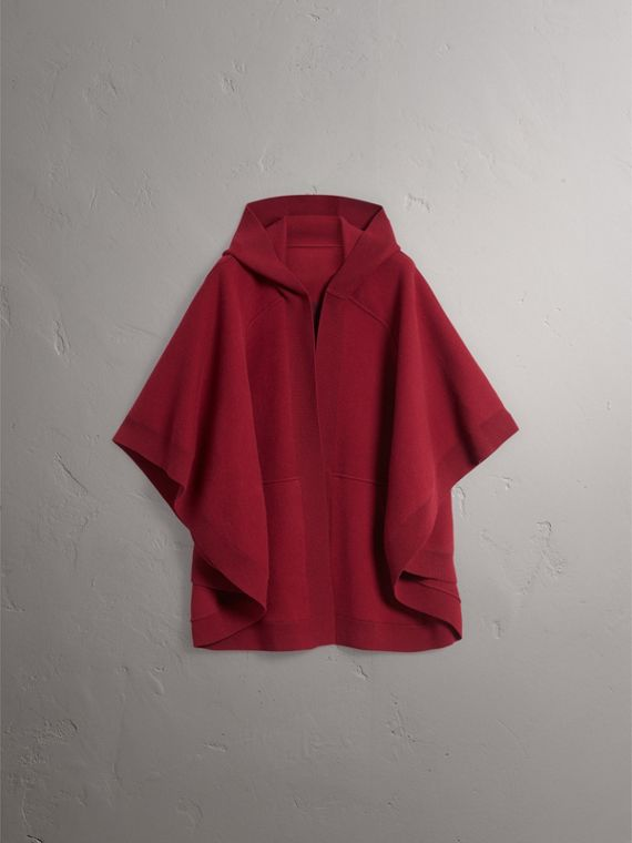 Wool Cashmere Blend Hooded Poncho in Deep Red - Women | Burberry - cell image 3