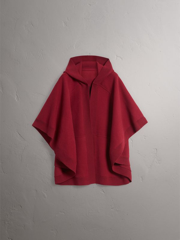 Wool Cashmere Blend Hooded Poncho in Deep Red - Women | Burberry United States - cell image 3